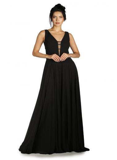 Pierre Cardin Şifon Beli Taş İşlemeli Uzun Abiye Elbise Siyah